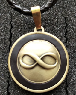 Infinity Pendant in Antiqued Brass with Braided Leather cord #4