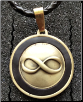 Infinity Pendant in Antiqued Brass with Braided Leather cord #2
